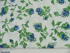BLUE ROSEBUDS WITH GREEN STEMS AND LEAVES VINTAGE FEED SACK