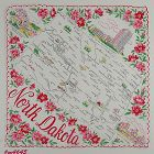 VINTAGE STATE SOUVENIR HANDKERCHIEF FOR NORTH DAKOTA