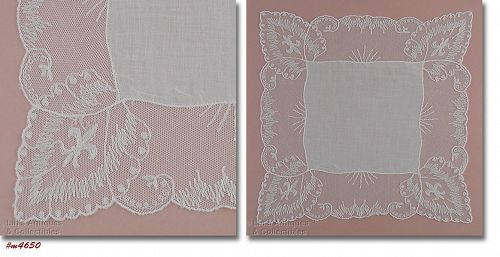 Vintage Wedding Hanky with Fleur De Lis on Edging