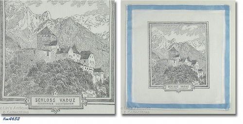 SCHLOSS VADUZ (VADUZ CASTLE) LEICHTENSTEIN SOUVENIR HANKY