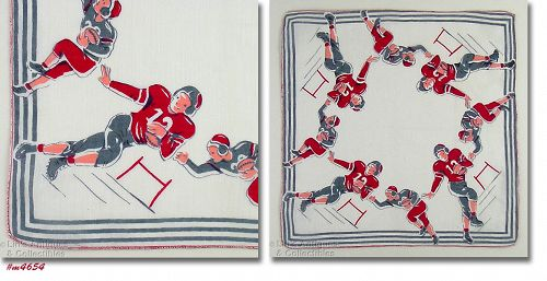 BOYS PLAYING FOOTBALL VINTAGE SPORTS HANDKERCHIEF