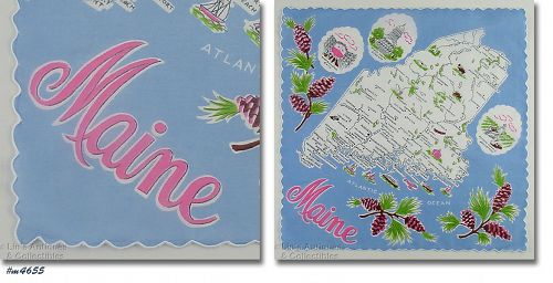 VINTAGE STATE SOUVENIR HANDKERCHIEF FOR MAINE