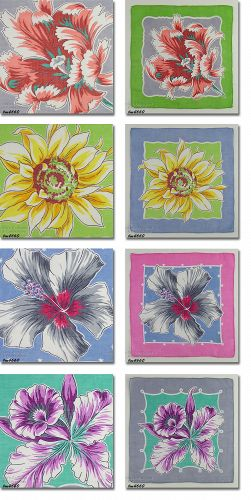 SET OF 4 VINTAGE FLORAL HANDKERCHIEFS