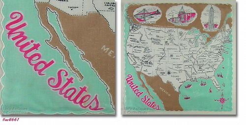 VINTAGE MAP OF THE UNITED STATES SOUVENIR HANDKERCHIEF