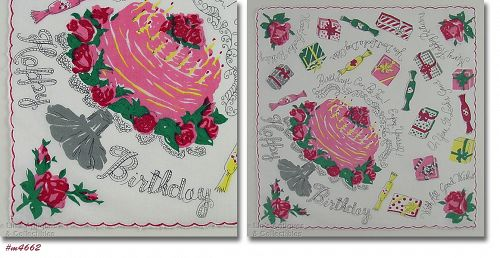 VINTAGE HAPPY BIRTHDAY HANDKERCHIEF