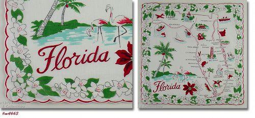VINTAGE STATE SOUVENIR HANDKERCHIEF FOR FLORIDA