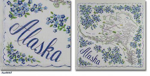 VINTAGE STATE SOUVENIR HANDKERCHIEF FOR ALASKA