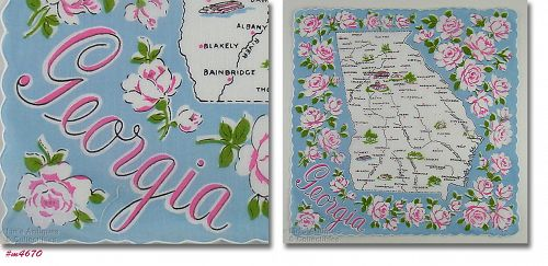 VINTAGE STATE SOUVENIR HANDKERCHIEF FOR GEORGIA