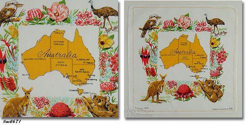 VINTAGE AUSTRALIA SOUVENIR HANDKERCHIEF BY HEIL