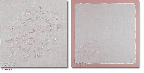 VINTAGE WHITE MADEIRA HANDKERCHIEF WITH PINK MONOGRAM E