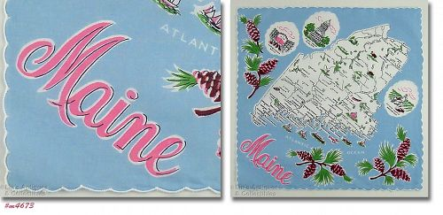 VINTAGE SOUVENIR HANDKERCHIEF FOR STATE OF MAINE