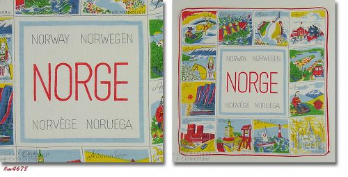 VINTAGE SOUVENIR OF NORWAY HANDKERCHIEF