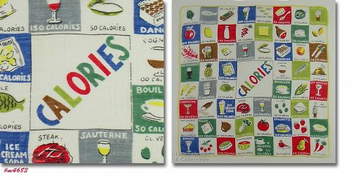 COLORFUL AND INFORMATIVE COUNTING CALORIES VINTAGE HANKY
