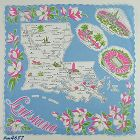 VINTAGE STATE SOUVENIR HANDKERCHIEF FOR LOUISIANA