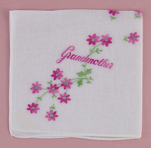 VINTAGE EMBROIDERED HANDKERCHIEF HANKY FOR GRANDMOTHER