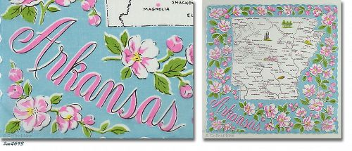 VINTAGE SOUVENIR HANDKERCHIEF FOR THE STATE OF ARKANSAS