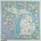 VINTAGE STATE SOUVENIR HANDKERCHIEF FOR MICHIGAN