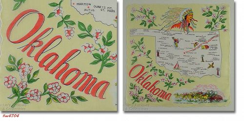 VINTAGE STATE SOUVENIR HANDKERCHIEF FOR OKLAHOMA