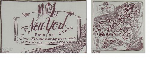 VINTAGE STATE SOUVENIR HANDKERCHIEF FOR NEW YORK THE EMPIRE STATE