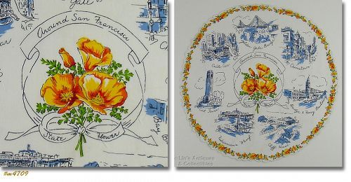 AROUND SAN FRANCISCO VINTAGE STATE SOUVENIR ROUND HANKY