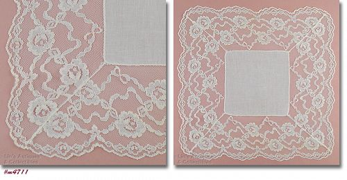 VINTAGE WHITE WEDDING HANKY WITH 4 INCH LACE EDGING