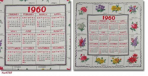 1960 Calendar.Vintage 1960 Calendar Hanky Flowers Of The Month