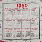 VINTAGE FLOWERS OF THE MONTH CALENDAR HANDKERCHIEF FOR 1960
