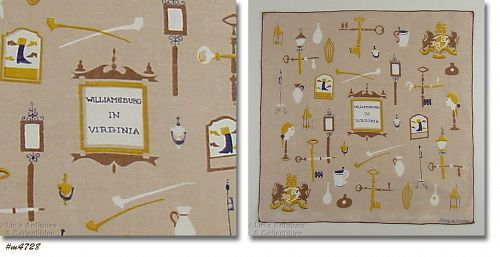 VINTAGE WILLIMASBURG IN VIRGINIA HANKY SIGNED BY EMILY WHALEY