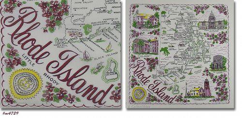 VINTAGE STATE SOUVENIR HANKY FOR RHODE ISLAND LITTLE RHODY