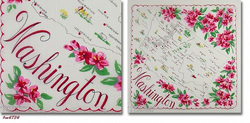 VINTAGE STATE SOUVENIR HANKY HANDKERCHIEF FOR WASHINGTON