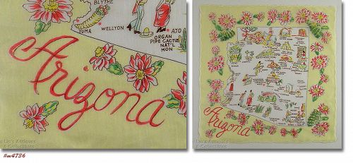 VINTAGE STATE SOUVENIR HANKY HANDKERCHIEF FOR ARIZONA