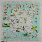 VINTAGE STATE SOUVENIR HANDKERCHIEF HANKY FOR THE DAKOTAS