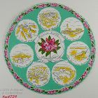 VINTAGE SOUVENIR AROUND SEATTLE ROUND HANKY HANDKERCHIEF