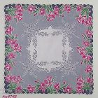 PINK DAFFODILS AND GRAY PUSSY WILLOWS VINTAGE HANKY HANDKERCHIEF