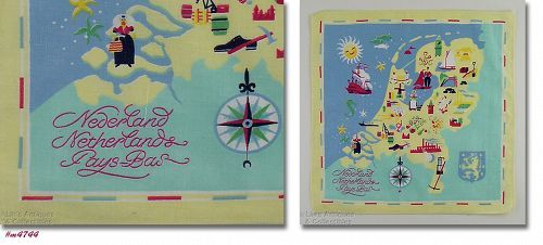 VINTAGE SOUVENIR HANDKERCHIEF HANKY FOR THE NETHERLANDS