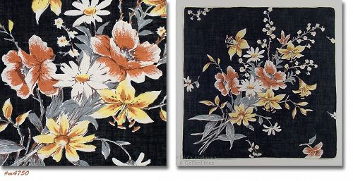 VINTAGE BLACK LINEN HANDKERCHIEF HANKY WITH BOUQUET OF FLOWERS