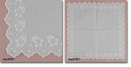 VINTAGE WHITE WEDDING HANKY WITH EMBROIDERED WHITE FLORAL BORDER