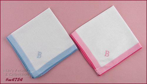PAIR OF VINTAGE B MONOGRAM HANKIES HANDKERCHIEFS NEW OLD STORE STOCK