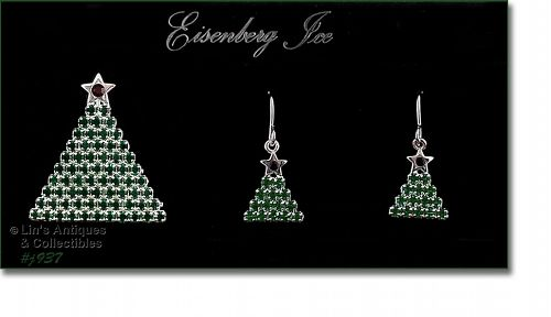 EISENBERG ICE GREEN RHINESTONES CHRISTMAS TREE PIN AND EARRINGS