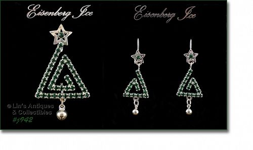 EISENBERG ICE GREEN RHINESTONES MODERN CHRISTMAS TREE PIN AND EARRINGS