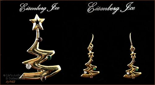 EISENBERG ICE FREE FORM STYLE CHRISTMAS TREE PIN AND PIERCED EARRINGS