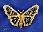 EISENBERG ICE GOLD TONE BUTTERFLY PIN WITH RHINESTONES