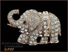 EISENBERG ICE CLEAR RHINESTONES FULL FIGURE GOLD TONE ELEPHANT PIN