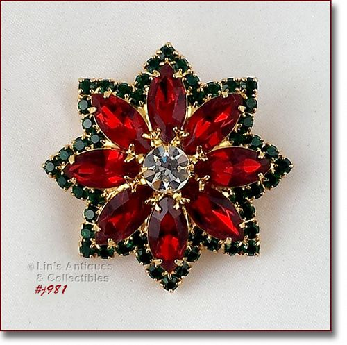EISENBERG ICE VINTAGE STAR SHAPED RHINESTONE PIN IN CHRISTMAS COLORS