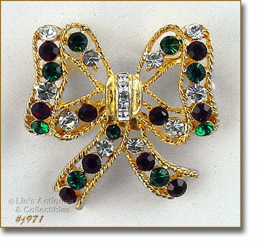 EISENBERG ICE BOW SHAPED RHINESTONE CHRISTMAS PIN