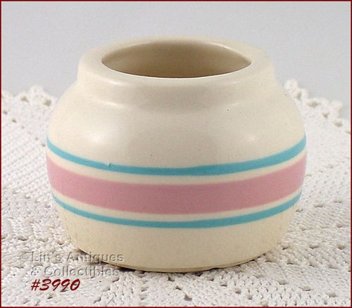 McCOY POTTERY VINTAGE STONECRAFT PINK AND BLUE CONDIMENT JAR
