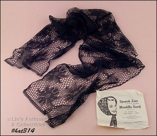 VINTAGE SPANISH LACE HOOD TYPE MANTILLA SCARF CHAPEL SCARF