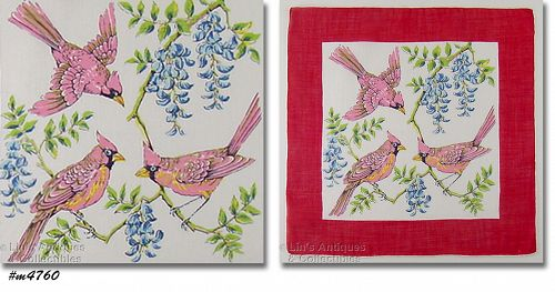 THREE BIRDS ON TREE BRANCHES VINTAGE HANDKERCHIEF