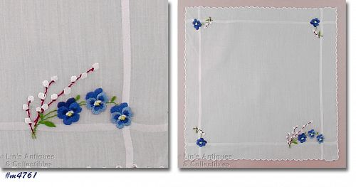 PUSSY WILLOW AND PANSIES VINTAGE HANDKERCHIEF