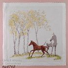 HORSE WITH FOAL VINTAGE HANDKERCHIEF